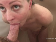 Please cum in my mouth! Bunny loves sucking my cock in the shower