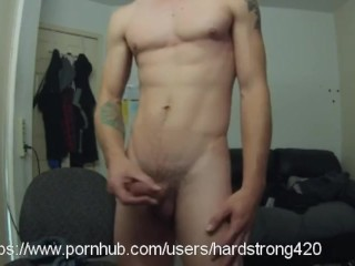 tattooed white guy with glasses asked to stroking cock by Pornhub friends