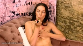 Brunette strips off leather catsuit spreads pussy and masturbates gold toy