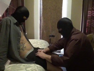 22 year-old straight guy with big dick gets a blowjob while wearing a mask.