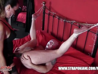Horny gimp raw despunked after femdom had him gagging fucking big strapon