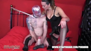 Horny gimp raw despunked after femdom had him gagging fucking big strapon  ass fuck big tits big cock submissive strapon femdom masturbate mom amateur cumshot domination hardcore kink brunette mother anal straponjane adult toys