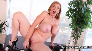 Busty Milf Sara Jay Gets Horny on Lunch Break and Cums Hard!