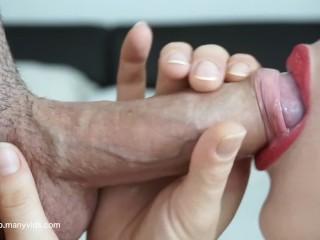 röd läppstift bästa blowjob någonsin extrema närbild slicka och svälja cum