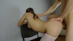 Hot Brunette Teen In Tights With Pigtails Fucked Doggystyle On Chair POV