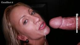 Blonde milf swallows 13 loads of cum