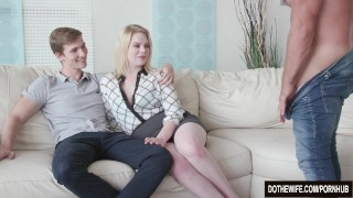 Blond Wife Adry Berty Fucks a Stud in Front of Her Loser Husband  hardcore housewife adry berty vaginal sex big cock cuckold couple wife dothewife blowjob blonde big dick