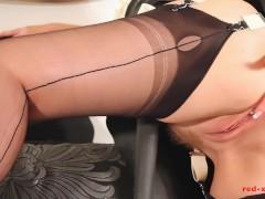 Bitish MILF Red fucks herself wearing a sexy latex maids uniform