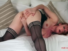 British babe Red fingers her twat while wearing her favorite nylons