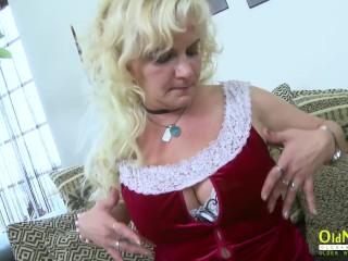 OldNannY Mature Blonde Seductive Solo Play