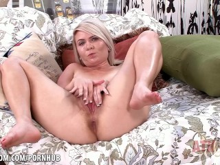 Blonde with small tits uses her magic wand.