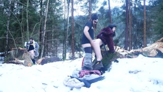 Couples of friends fucking outdoor in the snow