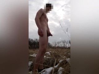 Naked outdoor pissing in winter