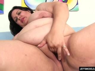 Fat Floozy Lacy Bangs Masturbates Her Fleshy Twat with Sex Toys