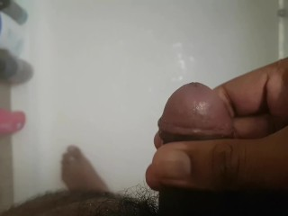 Shower piss and wank
