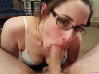 Fluffing before filming turns into oral creampie
