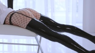 Latex and Fishnets  strap on high heels straplessdildo boots dildo fishnet fishnets toys kink rough heels latex stockings pussy licking strapless dildo adult toys