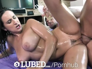 LUBED Big breasted Ashley Adams lubed up fuck and creampie