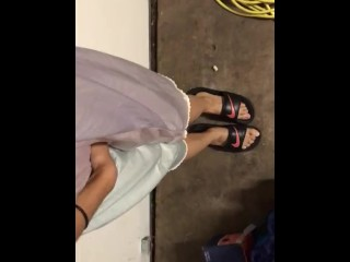 Pissing her pretty Nightgown in the Garage