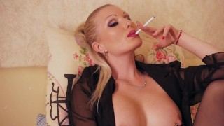 Cigarette smoking fetish lady  milf smoking kink european extreme piercing pussy piercing smoking fetish pierced nipples high heels nylon blonde