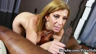 Hot MILF Sara Jay Gives POV Blowjob on BBC for Cum!