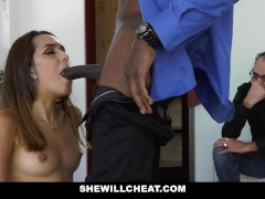 SheWillCheat - Hot Young Wife Fucks BBC While Husband Watches