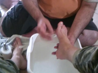 my slave cares and cleans my feet
