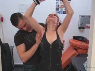Tickling instruction with her lover - with CA