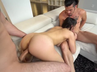Hussie Auditions: Flexible Brunette Meko Lily Takes Two Cocks