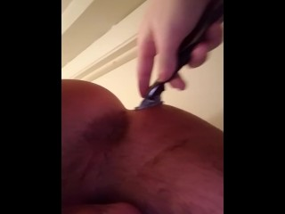 Baby shaving daddy's ass