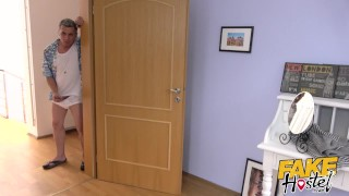 Preview 5 of Fake Hostel - Freckle faced girl with nice ass and big nipples creeped on