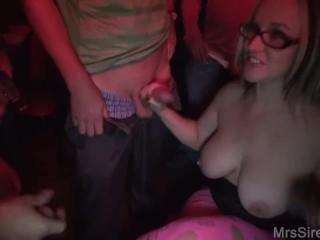 Hotwife Sucking a Room Full of Dicks