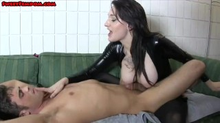 Pegged by chich in latex and eat cum  kink pegging