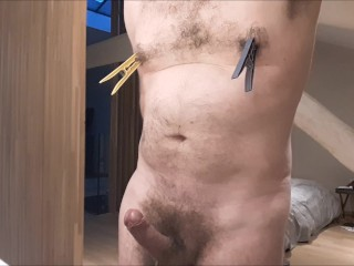 Nipple play ends in huge hands free cumshot - clothespin, toothpaste, spoon