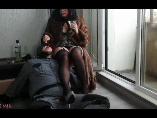 Strict Wife Mia has a human ashtray