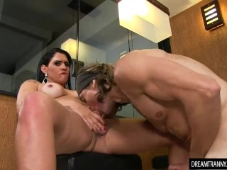 Horny Transsexual Slut Aline Carvalho Takes a Cock in Her Mouth and Asshole