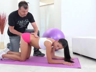 Old-n-Young.com -Eveline Dellai- Cutie drinks natural protein after workot