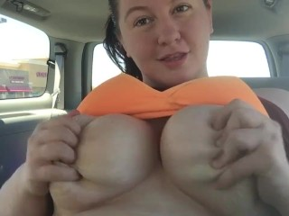 BBW Slut Masturbating In My Car with Savannah Savage
