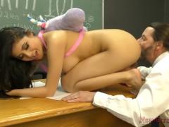 Bratty Student Brenna Makes Her Teacher Kiss Her Ass & Feet - Femdom