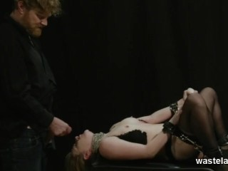 Shackled To Table While Toyed and Throat-Fucked