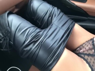 Horny girl play with herself during the ride