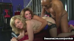 Mature MILFS Deauxma & Nina Hartley Share A Big Black Cock!