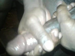 BBC STROKING MY DICK AND SHOOTING CUM (CUM SPILL)