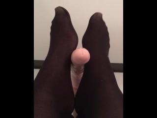 Nylon Dildo Footjob with Sexy Flexible Feet