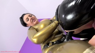 Latex bitchboy pegging  male slave black strap on pegging chastity fetish kink kinky rough domina latex gimp ass to mouth mistress ezada sinn slave training male getting fucked latex catsuit strapon fuck