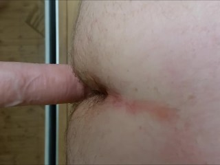 Straight guy ass fucked POV closeup by huge dildo - ass to mouth