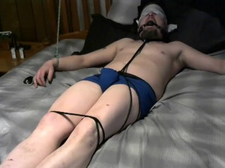 Tied up, gaged, blindfolded and cumming