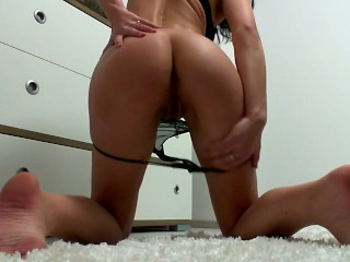 Fingers her self till she has a orgasm