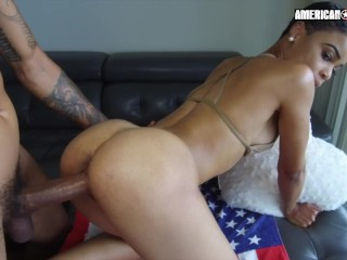 Sexy Young Beach Babe Aria gets is new to porn and wants her meat!