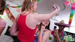 College girls have a dorm party with a dick